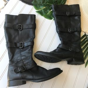 Born Leather Knee High Moto Boots